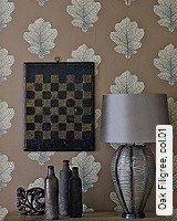 Tapete  - Tapeten in Kupfer und Rotgold Oak Filigree, 01