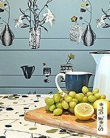 Tapete  - Midcentury Modern Shelf, blue