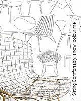 Tapete  - Midcentury Modern Sitting Comfortably?, snow 'colour me'