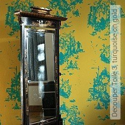 Tapete: Decouper Toile 3, turquoise on gold