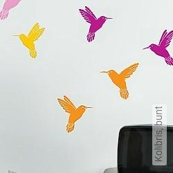 Walltatoo: Kolibris, bunt