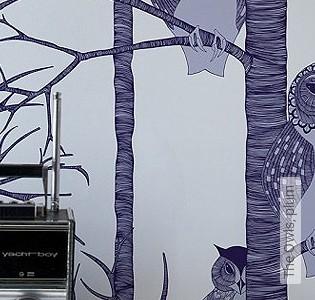 Bild Tapete - The Owls, plum