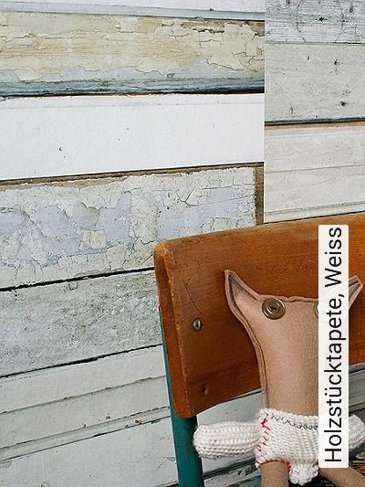 Bild: Tapeten - Holzstücktapete, Weiss