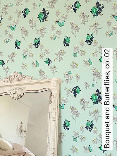 Bild: Tapeten - Bouquet and Butterflies, col.02