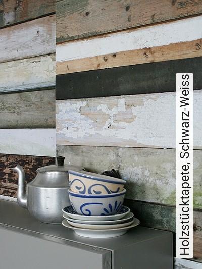 Bild: Tapeten - Holzstücktapete, Schwarz-Weiss