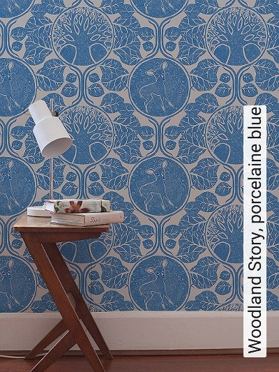 Bild: Tapeten - Woodland Story, porcelaine blue