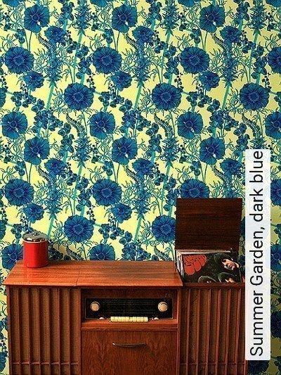 Bild: Tapeten - Summer Garden, dark blue