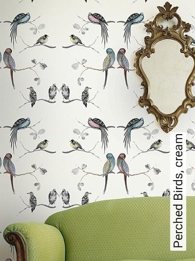 Bild: Tapeten - Perched Birds, cream