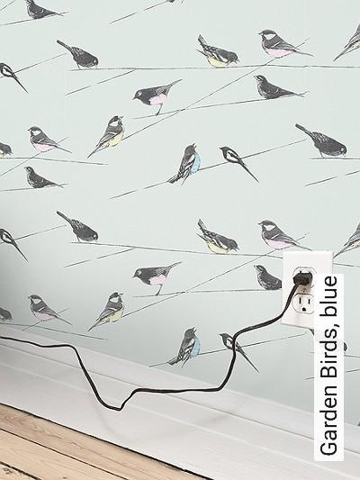 Bild: Tapeten - Garden Birds, blue