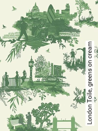 Bild: Tapeten - London Toile, greens on cream