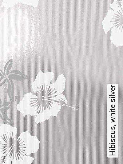 Bild: Tapeten - Hibiscus, white silver