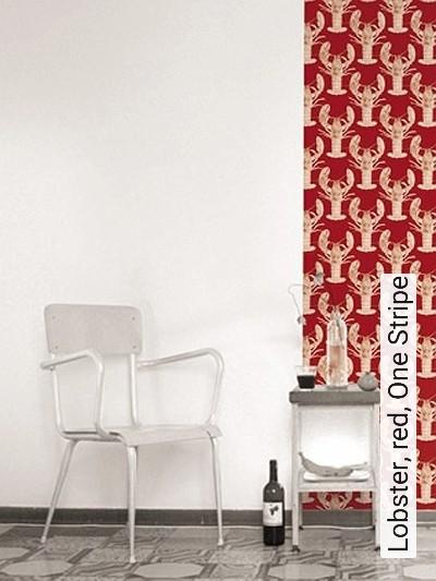 Bild: Tapeten - Lobster, red, One Stripe