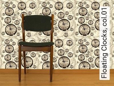 Bild: Tapeten - Floating Clocks, col.01