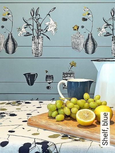 Bild: Tapeten - Shelf, blue